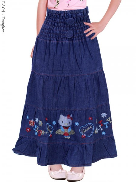 RA04 Rok Anak Jeans Bordir Hello Kitty