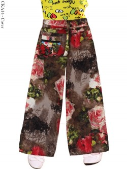 CKA14 Celana Kulot Anak Katun Linen Motif