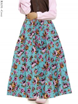RA191 Rok Anak Katun Linen Umbrella Bunga