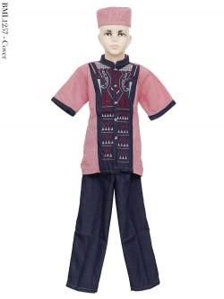BML1257 (7-12) Baju Koko Anak Dennim Bordir