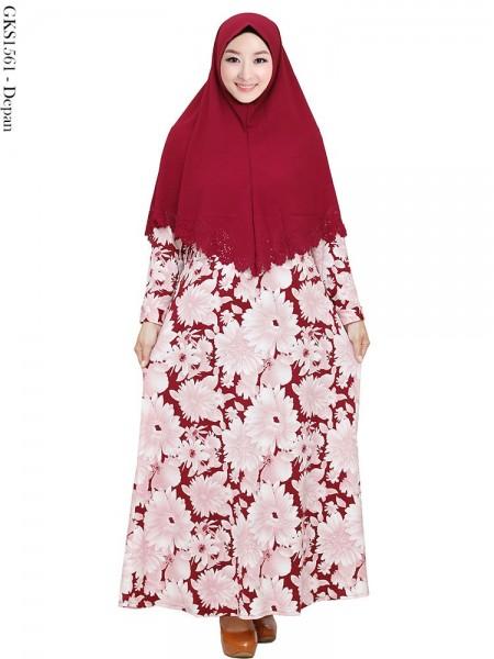 GKS1561 Gamis Syari Waffel Hijab bubble pop Press