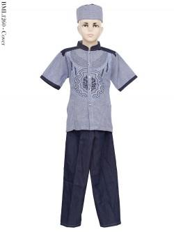 BML1260 (4-6) Baju Koko Anak Dennim Bordir