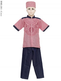 BML1261 (7-12) Baju Koko Anak Dennim Bordir