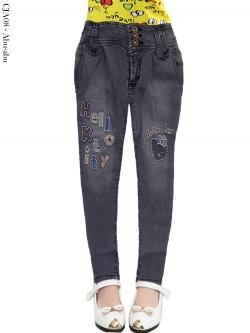 CJA08 Celana Jeans Anak Bordir Hellokitty
