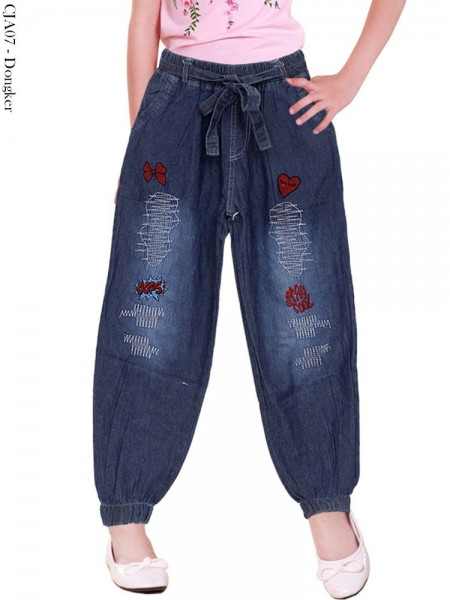 CJA07 Celana Jogger Jeans Anak Bordir