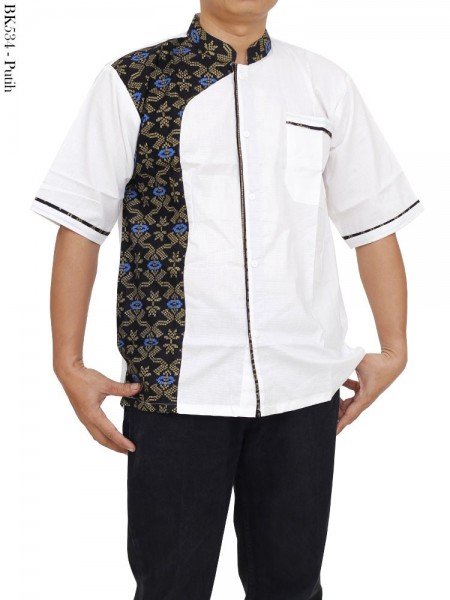 BK534 Baju Koko Lengan Pendek Kombinasi Batik