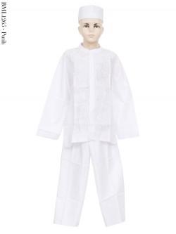 BML1265 (7-12) Baju Koko Anak Katun Putih Bordir
