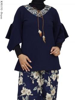 KM1192 Atasan Waffel List Batik Tali