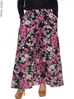 CK332 Celana Kulot Jumbo Katun Linen bunga