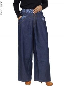 CK333 Celana Kulot Jumbo Jeans List motif
