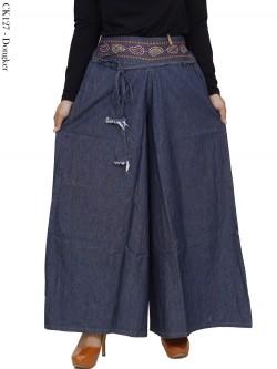 CK127 Celana Kulot Jeans Jumbo Bordir