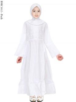 BMC1615 (7-12) Gamis Anak Katun Putih Senada