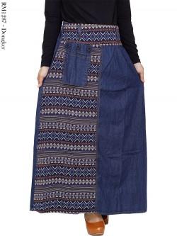 RM1287 Rok Jeans Mix Batik Songket