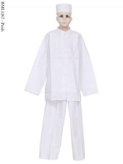 BML1267 (13-15) Baju Koko Anak Katun Putih Bordir