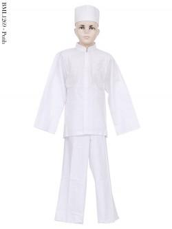 BML1269 (7-12) Baju Koko Anak Katun Putih Bordir