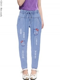 CJA11 Celana Jeans Anak Bordir HELLO KITTY