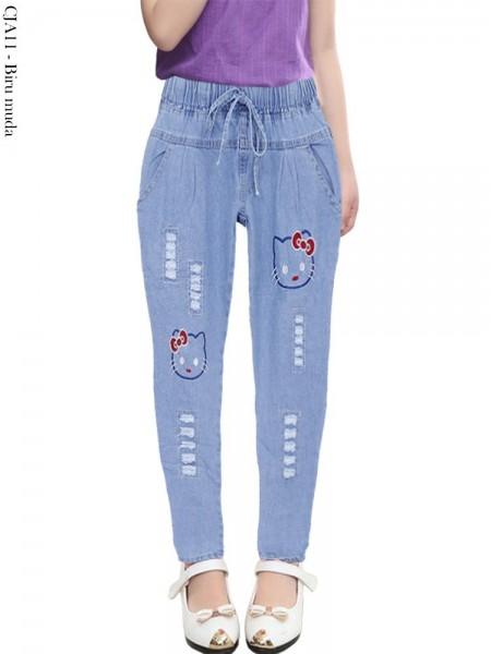CJA11 Celana Jeans Anak Bordir HELLO KITTY