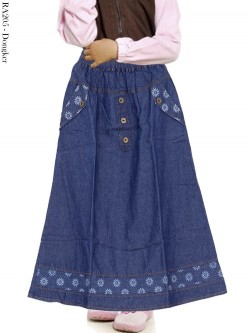 RA205 Rok Jeans Anak List Bunga 6-10th