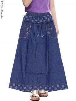 RA214 Rok Jeans Anak Tanggung List Bunga