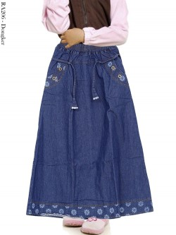 RA206 Rok Jeans Anak List Bunga 6-10th