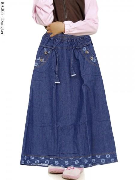 RA206 Rok Jeans Anak List Bunga 6-10th