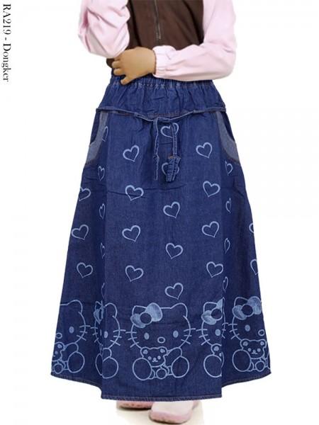 RA219 Rok Jeans Anak Motif Love Hellokitty