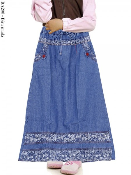RA208 Rok Jeans Anak List Motif 6-11th