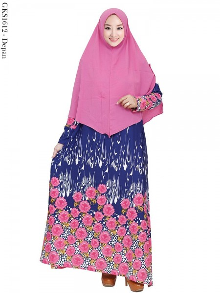 GKS1612 Gamis Syar'i Waffel Batik