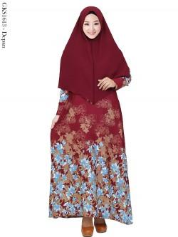 GKS1614 Gamis Syar'i Waffel Batik