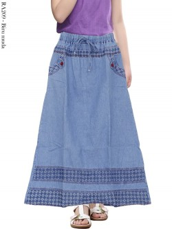 RA209 Rok Jeans Anak Tanggung List Motif 6-10th