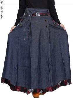 RM1307 Rok Jeans Jumbo Payung List Motif