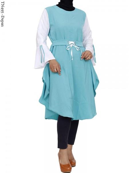 TN495 Dress Tunik Wolfis Serut