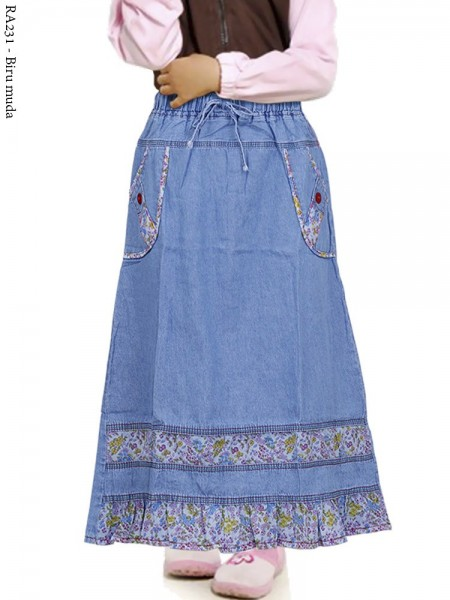 RA231 Rok Jeans Anak Tanggung List Motif 6-10th
