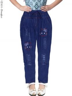 CJA14 Celana Jeans Anak Bordir Hellokitty