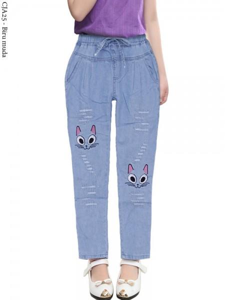 CJA25 Celana Jeans Anak Tanggung/Remaja Bordir