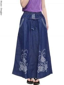 RA232 Rok Jeans Anak Tanggung Sablon Bunga 7-12th
