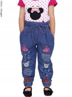 CJA27 Jogger Jeans Anak Bordir 3-6th