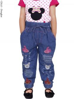 CJA27 Jogger Jeans Anak Bordir 3-6th