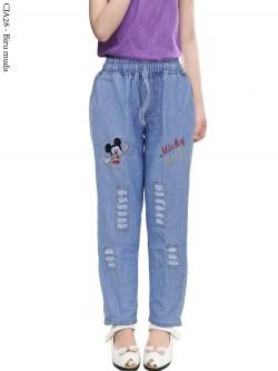 CJA28 Celana Jeans Anak Bordir Micky mouse