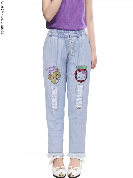 CJA29 Celana Jeans Anak Bordir Rawis