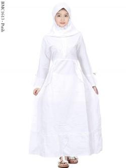 BMC1613 (all-size) Gamis Anak Katun Putih Senada