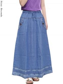 RA242 Rok Jeans Anak Tanggung List Motif 6-10th