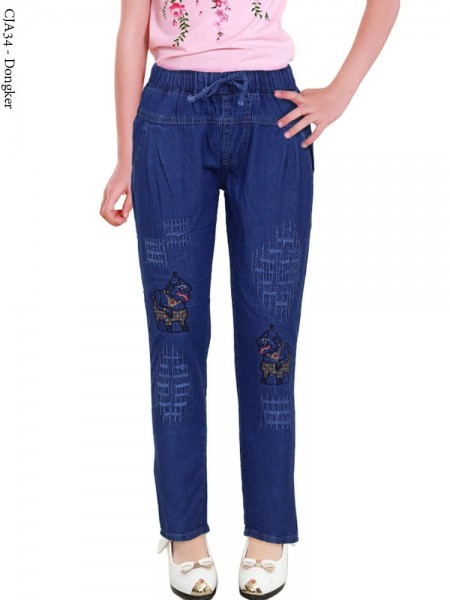 CJA34 Celana Jeans Anak Bordir Semar
