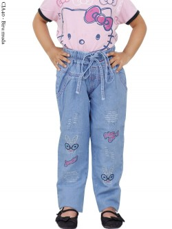 CJA40 (18-22) Celana Jeans Anak Bordir Rabbit