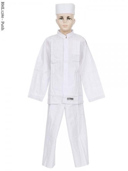 BML1280 (7-12) Baju Koko Anak Katun Putih Bordir