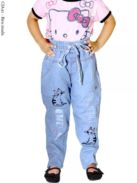 CJA41 (18-22) Celana Jeans Anak Bordir kucing