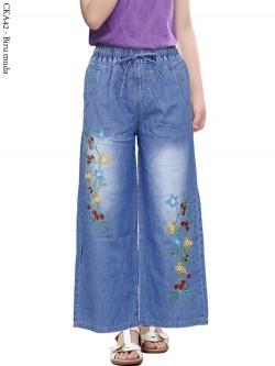 CKA42 Celana Kulot Jeans Anak Bordir