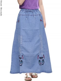 RA239 Rok Jeans Anak Tanggung Bordir 6-10th