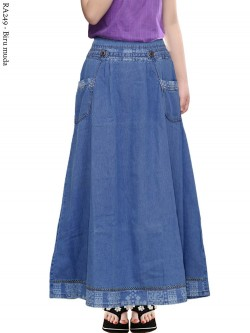 RA249 Rok Jeans Anak Tanggung List Motif 6-11th