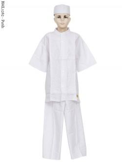 BML1282 (13-15) Baju Koko Anak Katun Putih Bordir